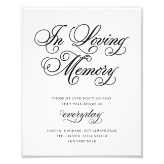 Classical   In Loving Memory Sign Photo