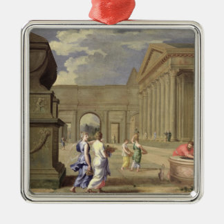 Classical Landscape Silver-Colored Square Decoration