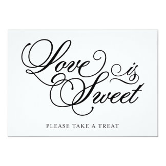 Classical | Love is Sweet Wedding Sign 13 Cm X 18 Cm Invitation Card