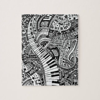 Classical music doodle with piano keyboard jigsaw puzzle