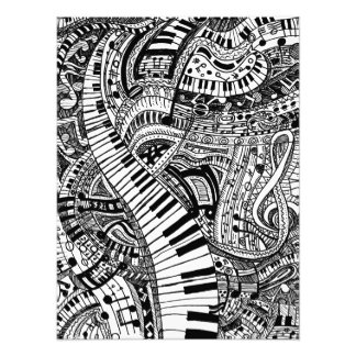 Classical music doodle with piano keyboard photo print