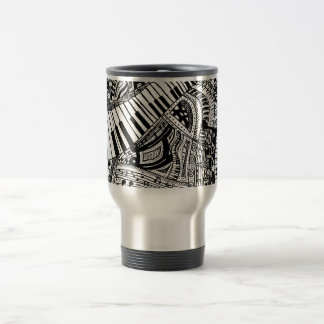 Classical music doodle with piano keyboard travel mug