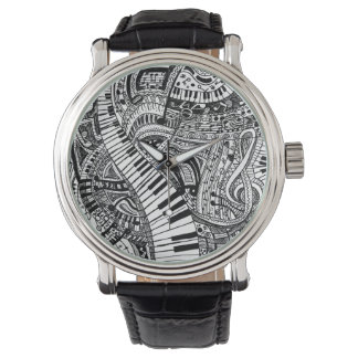 Classical music doodle with piano keyboard watch
