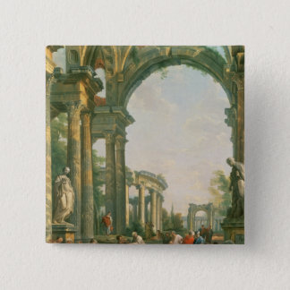 Classical ruins, 18th century 15 cm square badge