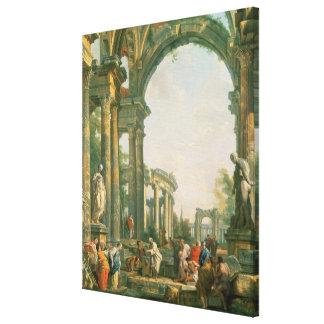 Classical ruins, 18th century canvas print