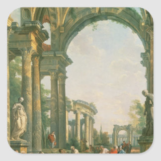 Classical ruins, 18th century square sticker