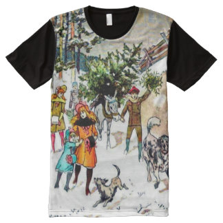 Classical Vintage Christmas Watercolor Art All-Over Print T-Shirt