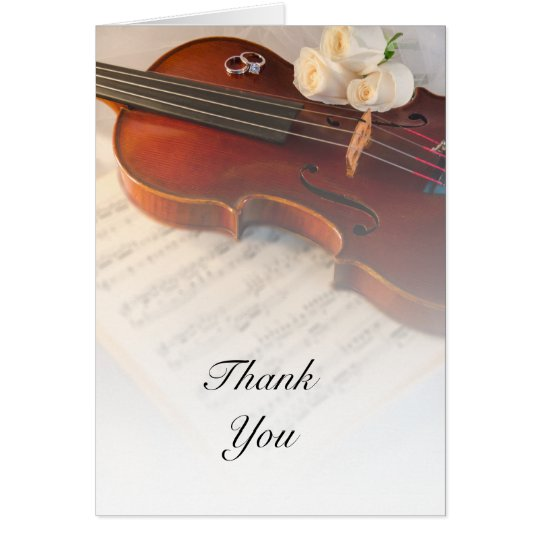 Classical Violin and White Roses Wedding Thank You