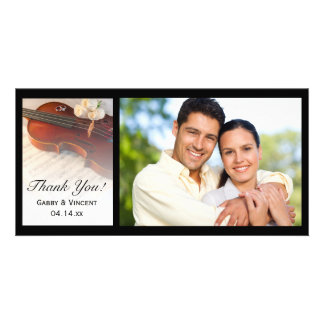 Classical Violin and White Roses Wedding Thank You Customised Photo Card