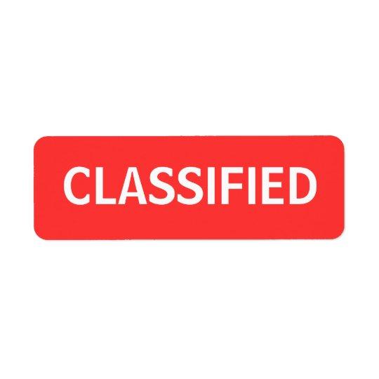 classified return address label