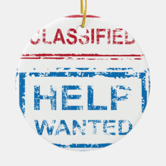 Classified Stamp Help Wanted Stamp Christmas Ornament