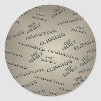 Classified Top Secret Large Round Sticker
