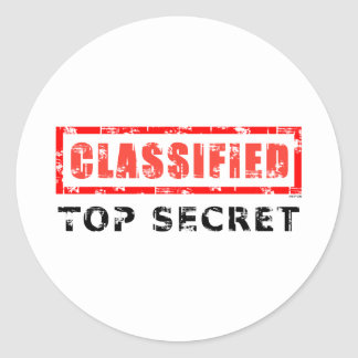 Classified Top Secret Round Sticker