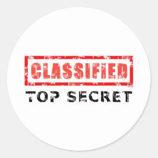 Classified Top Secret Round Sticker