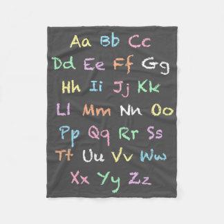 Classroom Pastel Alphabet Chalkboard Fleece Blanket