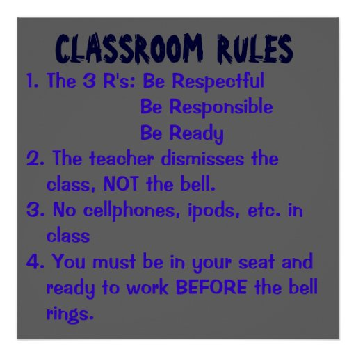 CLASSROOM RULES, 1. The 3 R's: Be Respectful