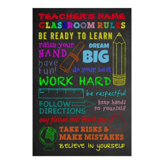 Classroom Rules — Personalised Teacher's Gift Poster