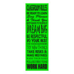 """Classroom Rules Poster (Lime Green), 12"""" x 36"""""""