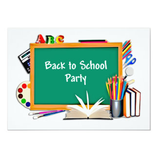 Classroom Supplies Chalkboard Back to School Party Announcement