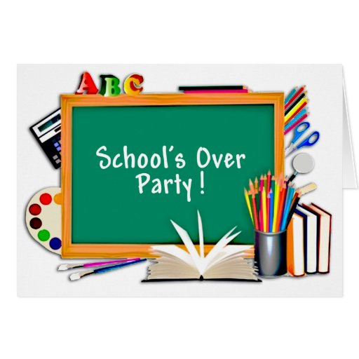 Classroom Supplies Chalkboard End of School Party Greeting Card