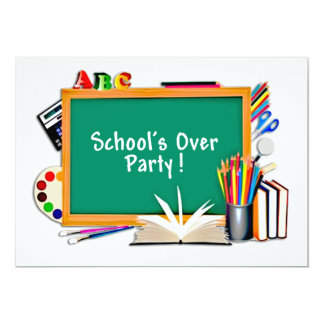 Classroom Supplies Chalkboard End of School Party Custom Invitation