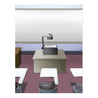 Classroom with projector and desks postcard