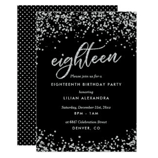 Classy 18th Birthday Invitation, Sparkly Confetti Card