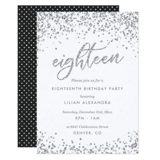 Classy 18th Birthday Invitation, Sparkly Confetti Card