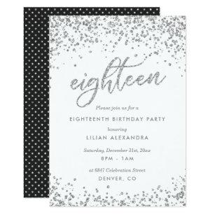Classy 18th Birthday Invitation Sparkly Confetti