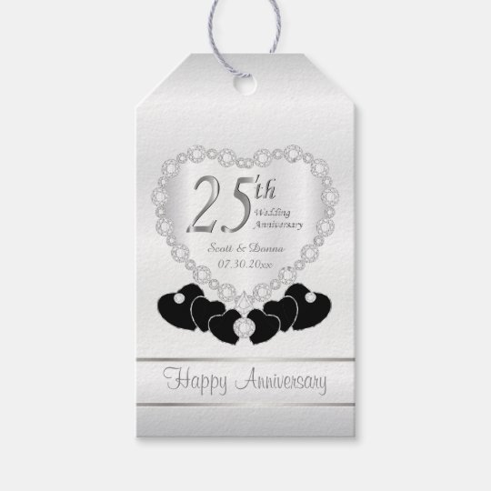 Classy 25th Silver Wedding Anniversary Pattern Gift Tags