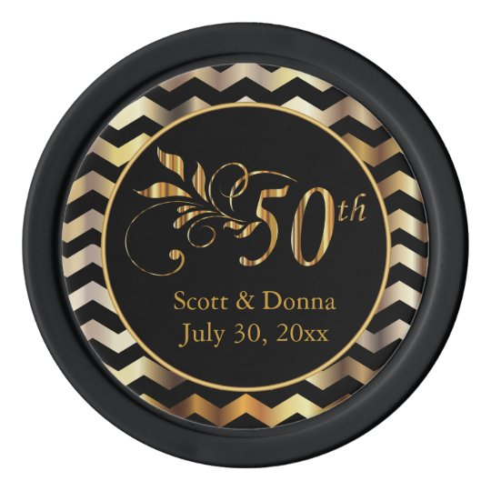 Classy 50th Golden Wedding Anniversary Poker Chips