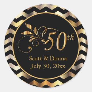 Classy 50th Golden Wedding Anniversary Round Sticker