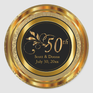 Classy 50th Golden Wedding Anniversary Round Sticker