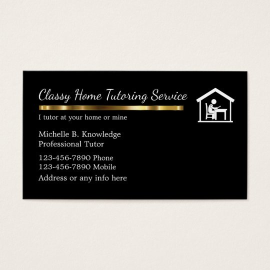 Classy After School Tutoring Service Business Card