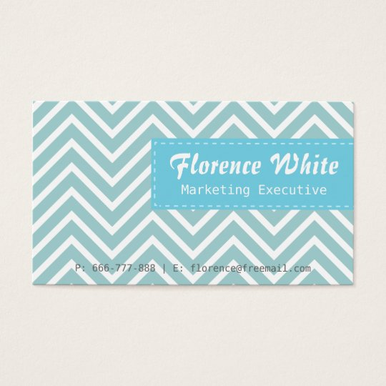 Classy and Elegant, blue and white chevron pattern Business Card