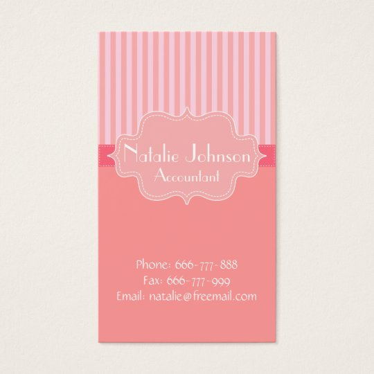 Classy and Elegant, Pink Stripes Background Business Card