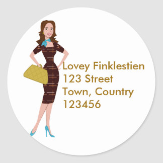 Classy and Snazzy Business Woman Round Sticker