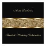 Classy Animal Print Invite [Leopard - Black] 13 Cm X 13 Cm Square Invitation Card