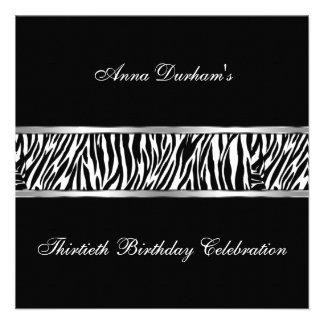 Classy Animal Print Invite Zebra Black Silver