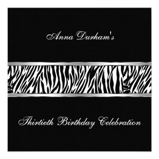 Classy Animal Print Invite [Zebra Black/Silver]