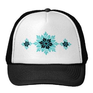 Classy Aqua and Black Floral Cap