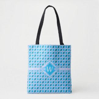 Classy Aqua Ice Diamond Pattern Custom Monogram Tote Bag