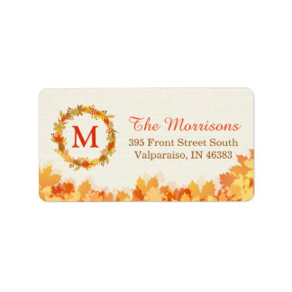 Classy Autumn Gold Red Leaves Wreath Monogram Address Label