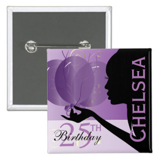 Classy Birthday Party Girl | Template 15 Cm Square Badge