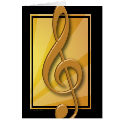 Classy Black and Gold Treble Clef Card