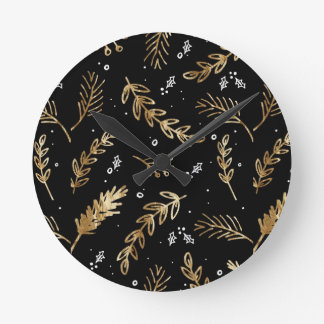 CLASSY BLACK AND GOLDEN LEAF WALL CLOCK