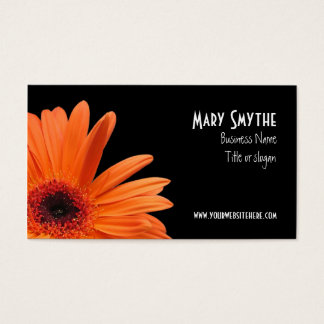 Classy Black and Orange Gerbera Daisy Business Card