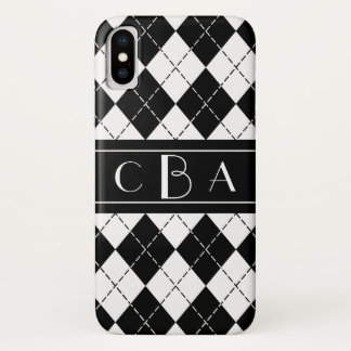 Classy Black and White Argyle Monogram iPhone X Case