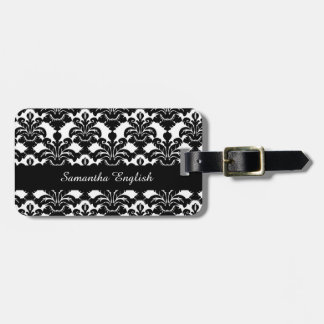 Classy Black and White Damask Luggage Tag