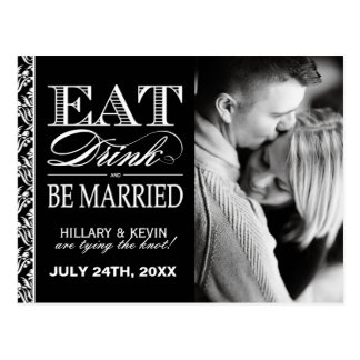 Classy Black and White Damask Save the Date Postcard